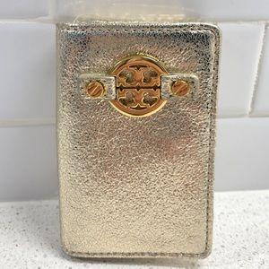 💯 Tory Burch Gold Tri Fold Wallet/ Keychain